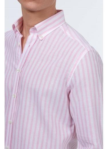 Hemington Çizgili Uzun Kollu Gömlek Pembe